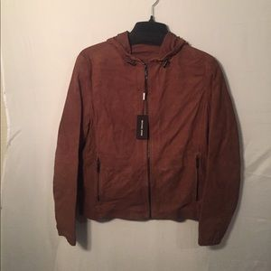 Micheal Kors Hooded Perforated-suede jacket cognac